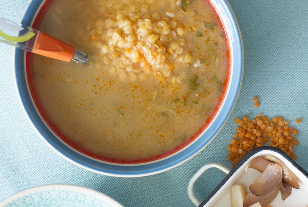 Vöröslencse-leves csicseriborsóval